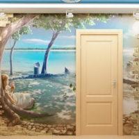 Décoration murale du couloir avec papier peint photo et pierre