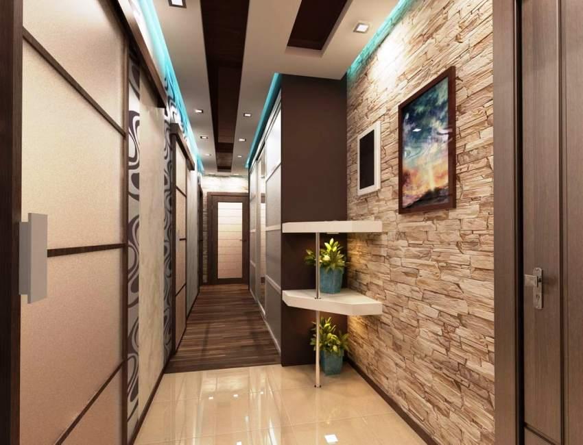 Photo d'une décoration murale dans le couloir avec une pierre décorative