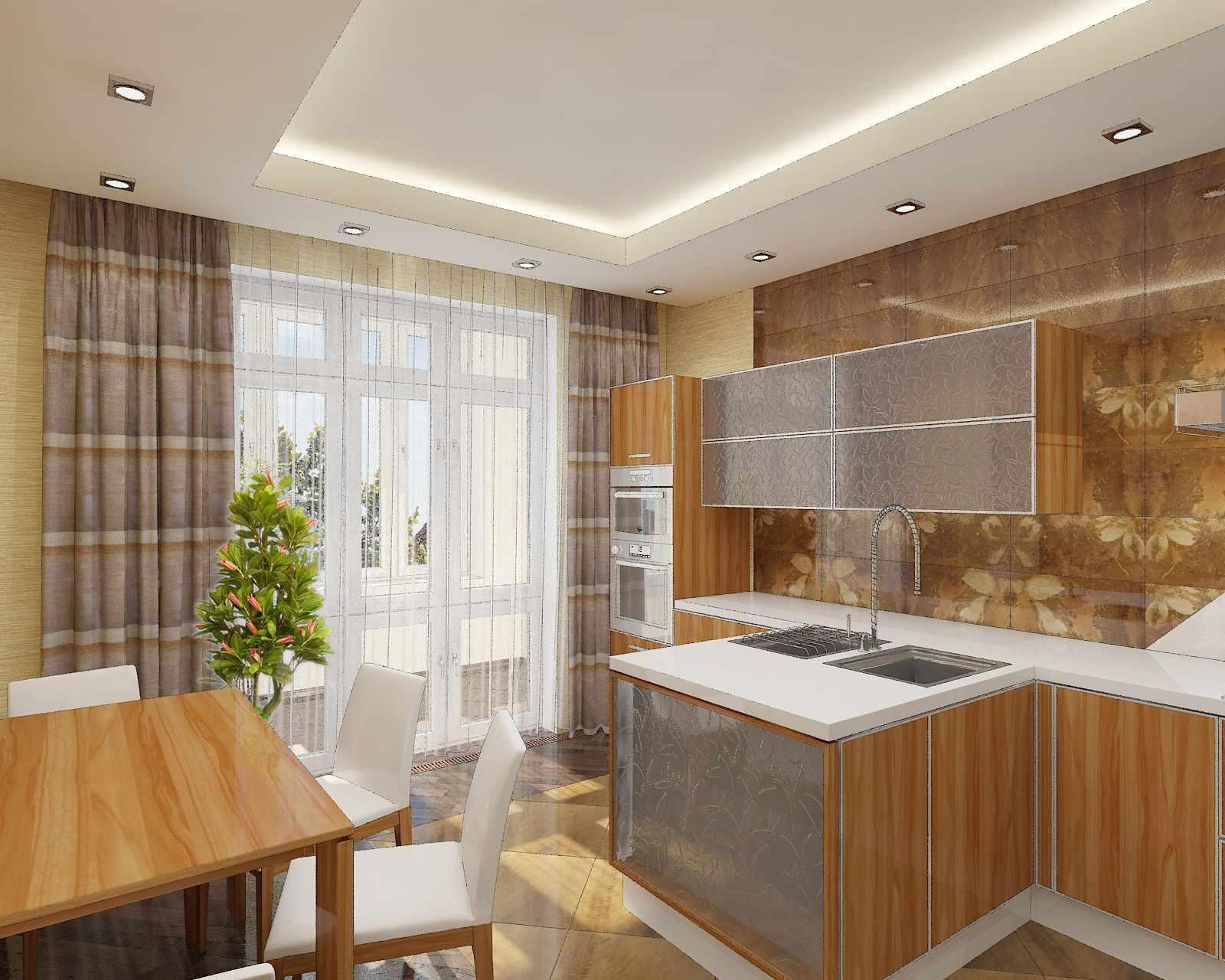 un exemple d'une conception inhabituelle d'un plafond de cuisine
