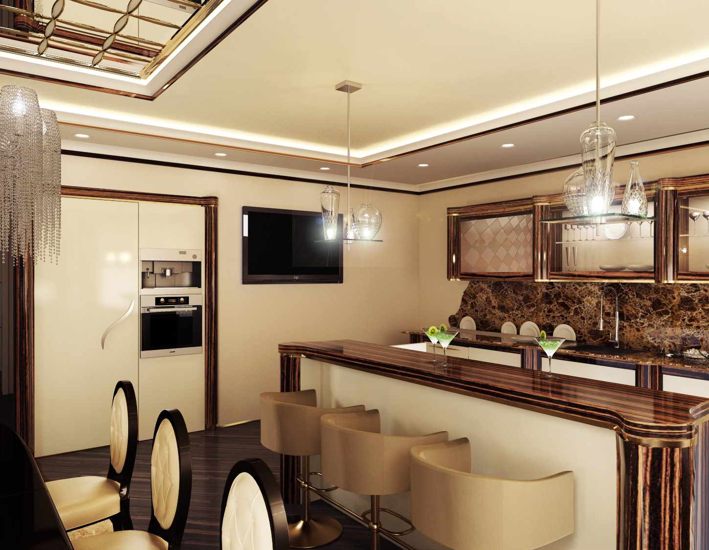 Un exemple d'un beau style de plafond de cuisine