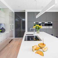 option d'un plafond intérieur lumineux dans la photo de la cuisine