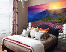Залез над планините в спалнята с фото стенопис