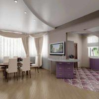 exemple d'un style inhabituel du plafond de la photo de la cuisine
