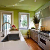 exemple de design lumineux du plafond de la photo de la cuisine