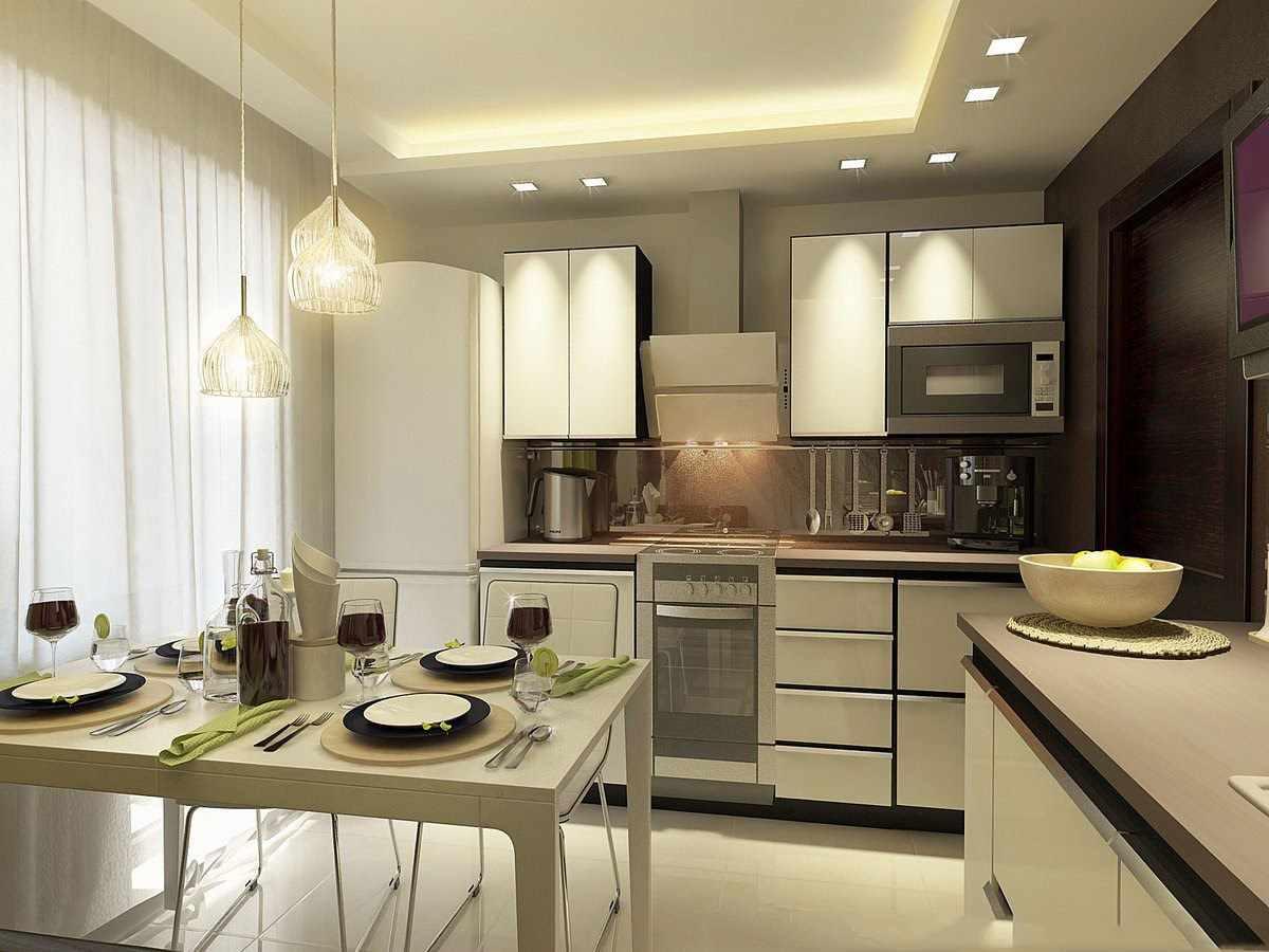 variante du style lumineux du plafond de la cuisine