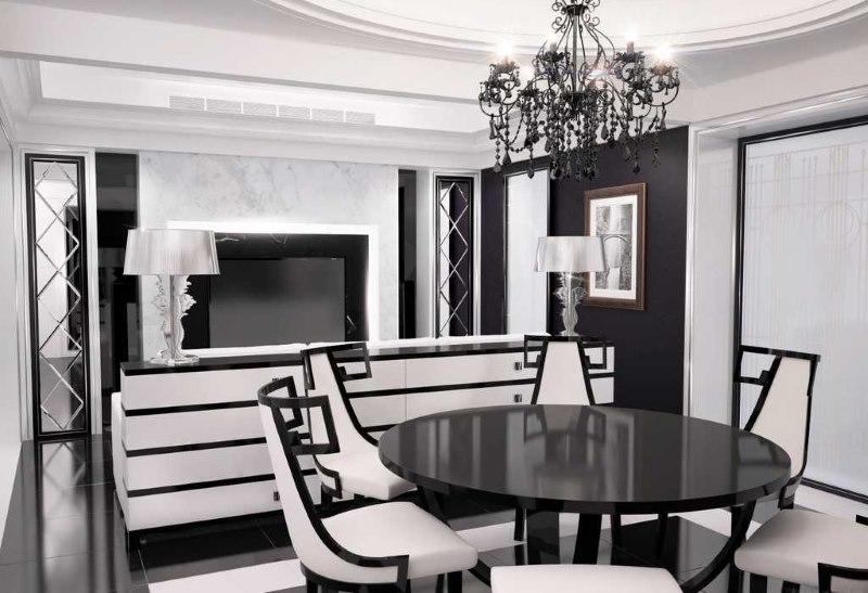 Cuisine-salon design en noir et blanc