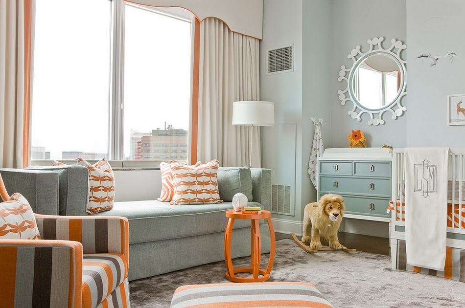 Bērnu istabas dizains ar oranžiem akcentiem