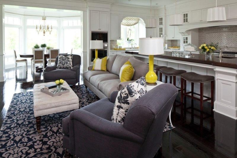 Dzīvojamās istabas dizaina projekts mūsdienīgā stilā