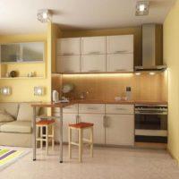 La disposition linéaire de la cuisine-salon