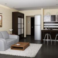 Intérieur de cuisine avec mobilier noir