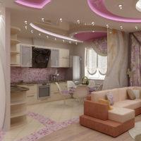 Néons au plafond de la cuisine-salon