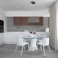 Design minimaliste de la cuisine et du salon