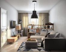 Pelēkas nokrāsas studijas tipa dzīvokļa interjerā