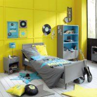 Dzeltena krāsa bērnu istabas dizainā