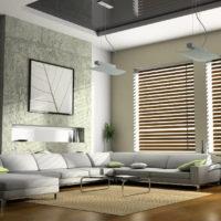 Logu žalūzijas dzīvojamā dizainā