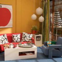 Oranžās un sarkanās krāsas telpu noformējumā