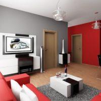 Sarkanā krāsa istabas interjera dizainā