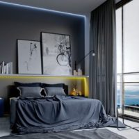 Panoramic window in the bedroom with a dark interior