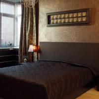 Lighting in the interior design of a dark bedroom