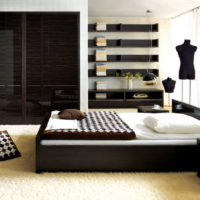 Straight lines in the bedroom interior with dark furniture