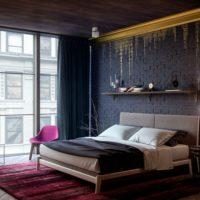 Dark loft style bedroom