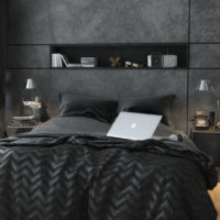 Dark gray shades in the interior of the bedroom