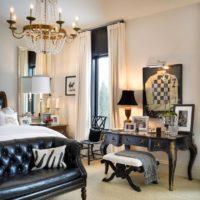 Bright bedroom lighting with dark furniture