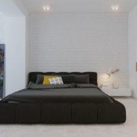 Minimum black bedroom furniture in white