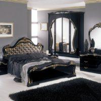 Classic dark furniture in the bedroom