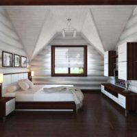 White ceiling and brown floor in the bedroom of a country house