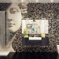 Mozaīkas kompozīcija vannas istabas dizainā