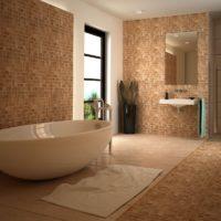 Vannas istabas grīdas un sienu dizains ar gaiši brūnu mozaīku