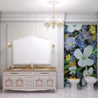 Mozaīkas panelis virs bidē vannas istabā