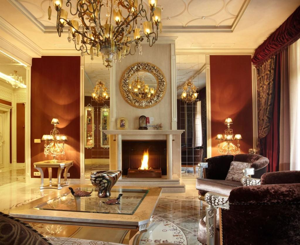 Klasiskā stila viesistabas kamīns