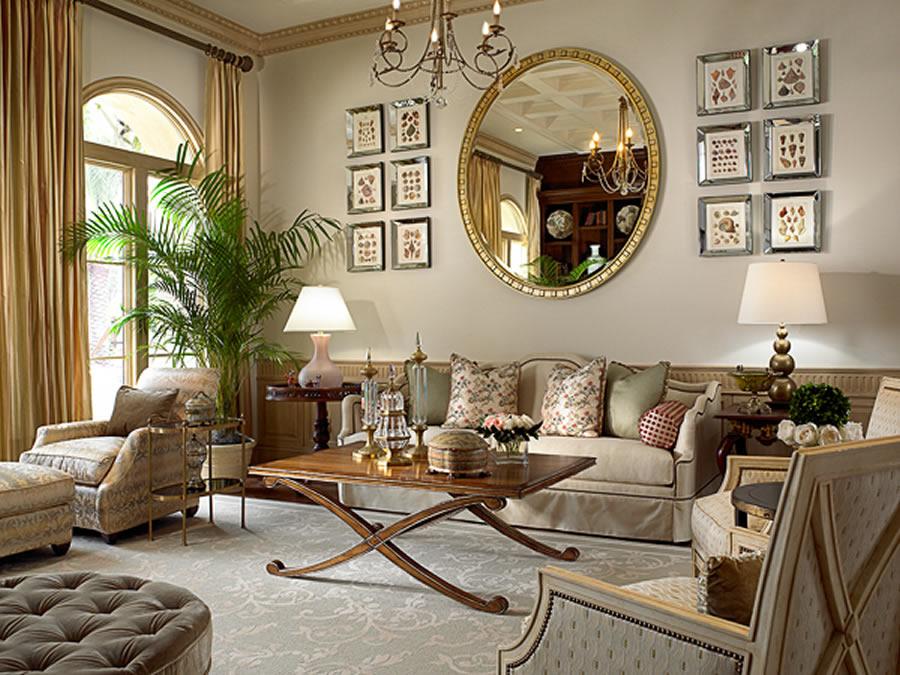 Noformējiet dzīvojamo istabu tradicionālajā klasiskajā stilā