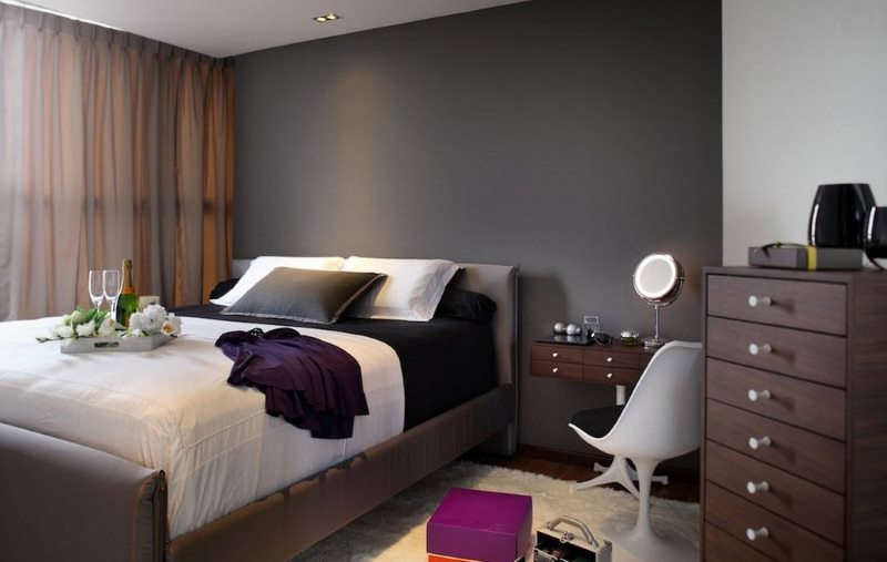 Shades of brown in the interior of a dark bedroom