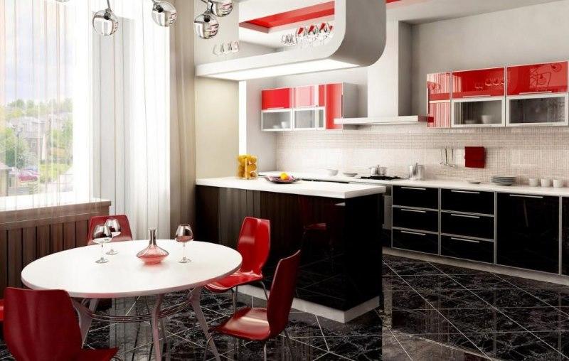 L'intérieur de la cuisine-salon de couleur rouge-noir