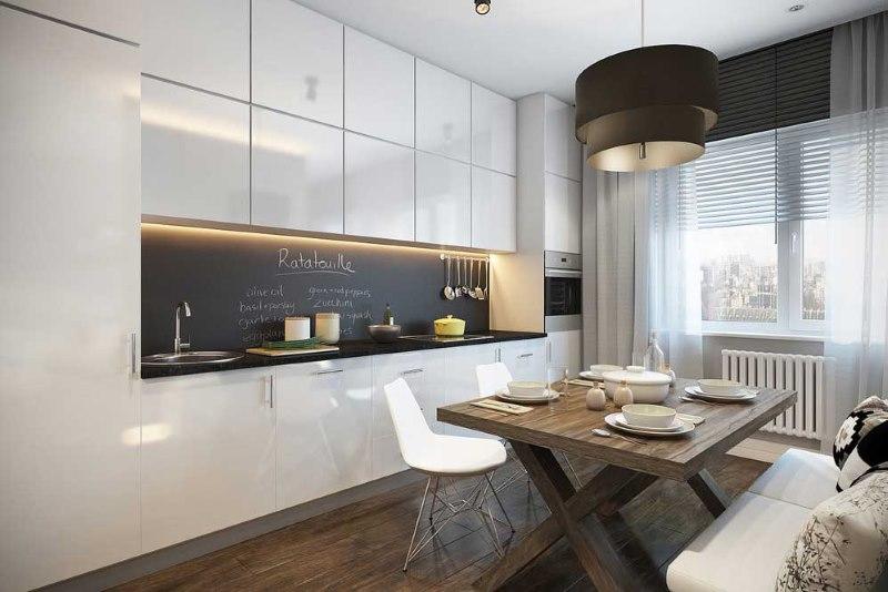 Disposition linéaire de l'espace cuisine avec un poêle au milieu