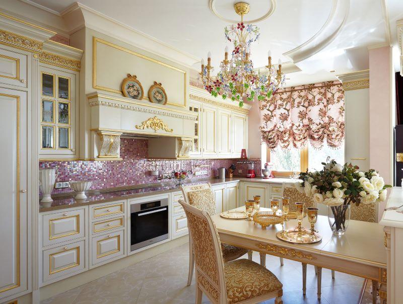 Mozaīka klasiskās virtuves dizainā