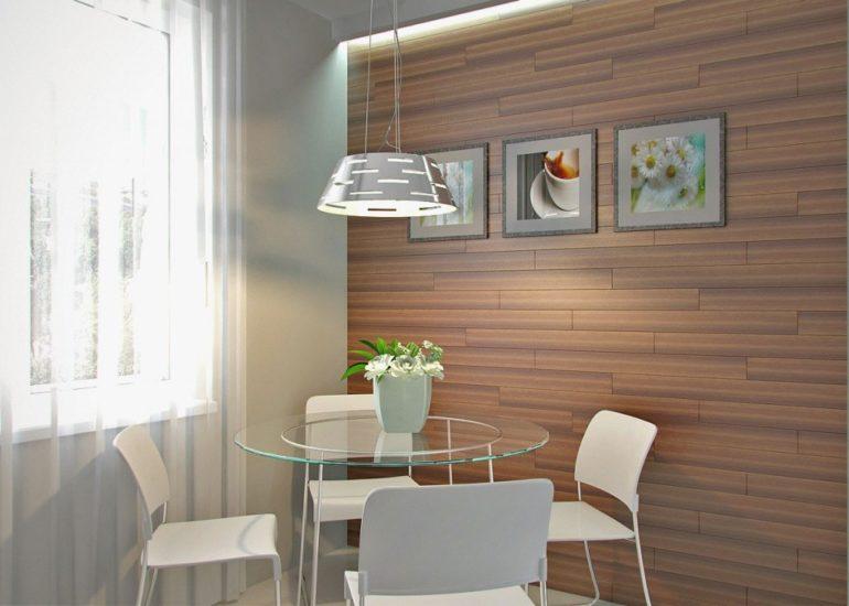 Table ronde en verre dans une cuisine moderne