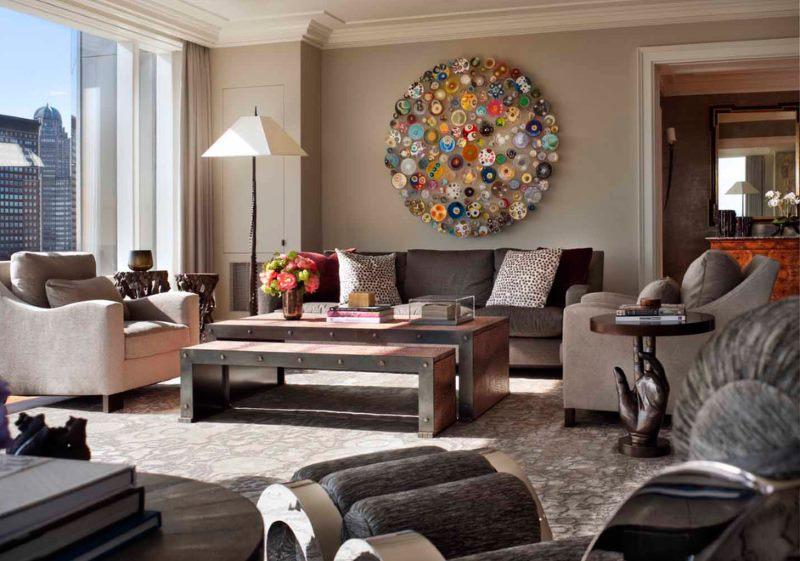Mozaīkas izmantošana dzīvojamās istabas dizainā