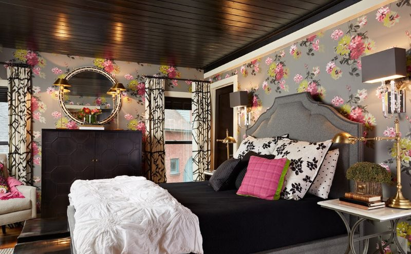 Wallpaper with a colorful pattern in the design of the bedroom with dark furniture