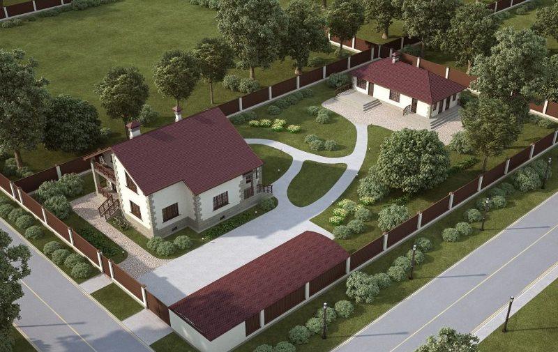 Projekta projekts vasarnīcas zemes gabalam 15 akriem ar māju un garāžu