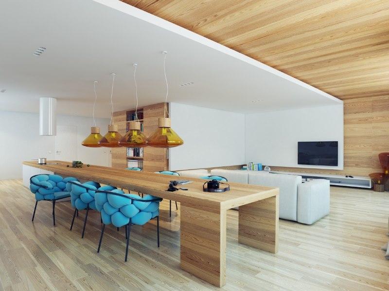 Zonage de la cuisine-salle de séjour avec divers matériaux de décoration