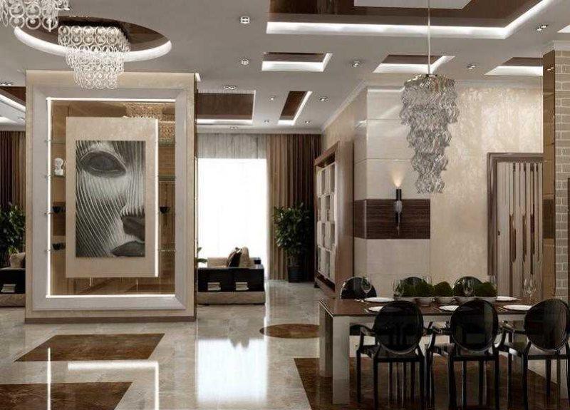 Projektējiet dzīvojamo istabu modernā stilā
