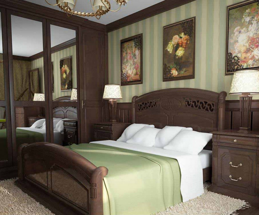 Dark classic-style bedroom with solid wood furniture