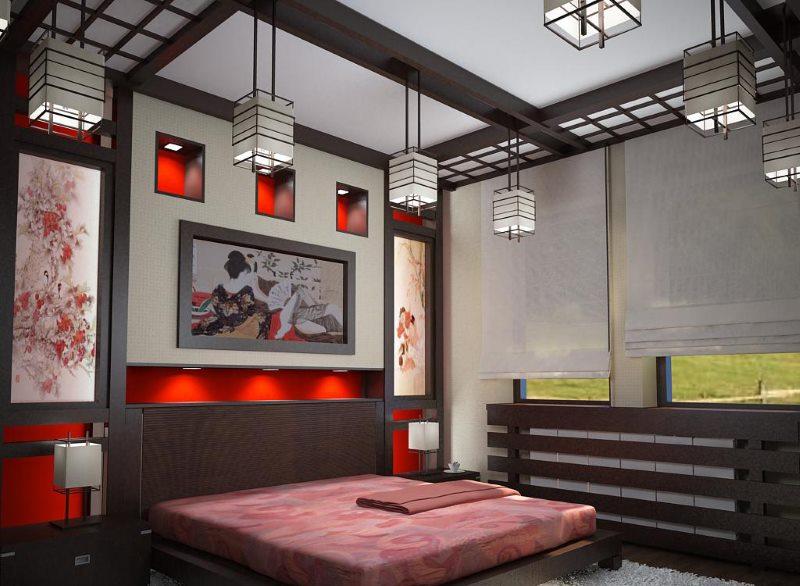 Stylish Japanese-Style Ceiling Beam Bedroom