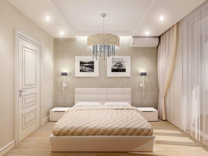 Ērts apgaismojums guļamistabas interjerā