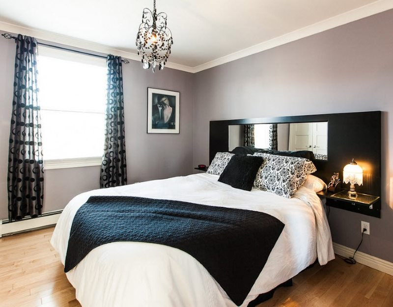 Bright natural light in a bedroom with a dark interior