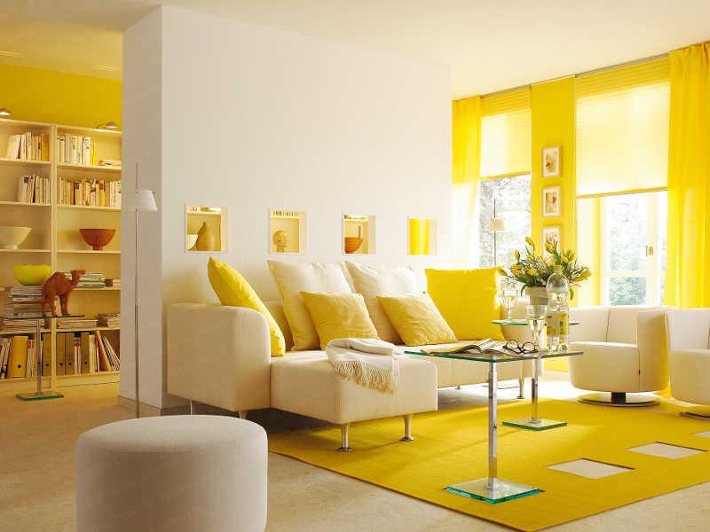 Dzeltenas nokrāsas dzīvojamo telpu projektēšanā